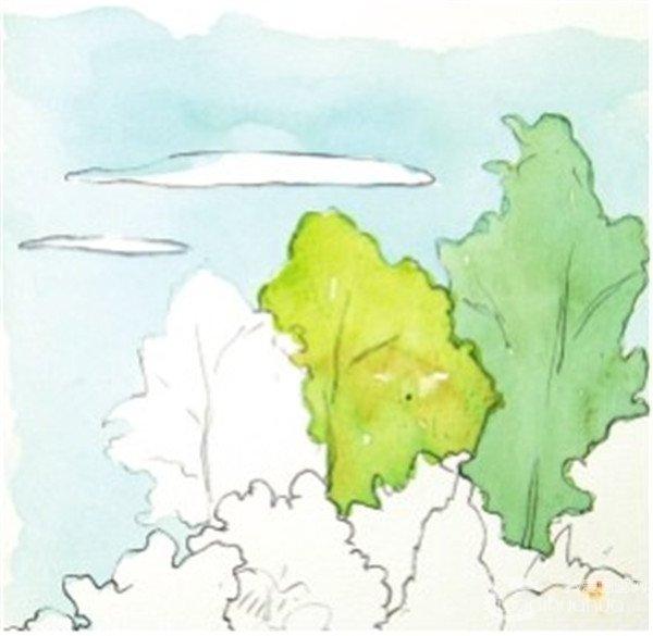 水彩树丛绘画技法