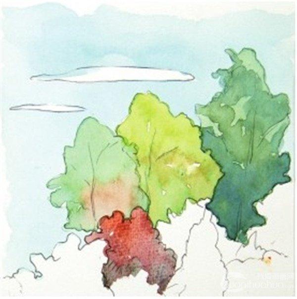 水彩树丛绘画步骤四