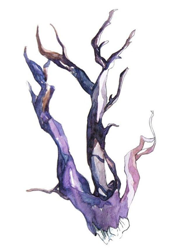 水彩枯枝的绘画教程(2)_水彩画教程_学画画_我爱画画网