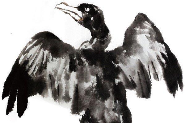 水墨鸬鹚的绘画技法
