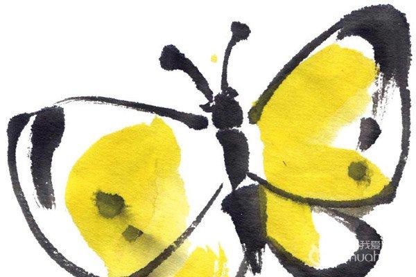 水墨黄蝴蝶的绘画技法