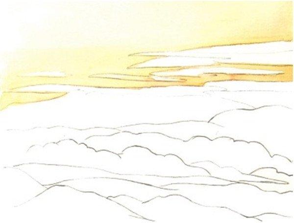 绘画步骤    水彩青山的绘画步骤一    2,用柠檬黄色加上一点橙色调和