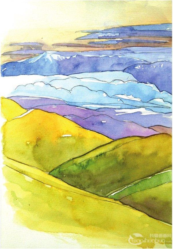 学画画 水彩画教程 水彩风景画 > 水彩青山的绘画技法(4)      7,继续