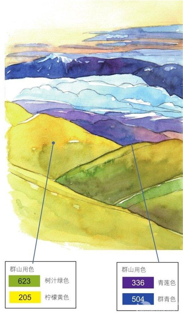 水彩风景画 > 水彩青山的绘画技法      要表现从远到近的青色群山的