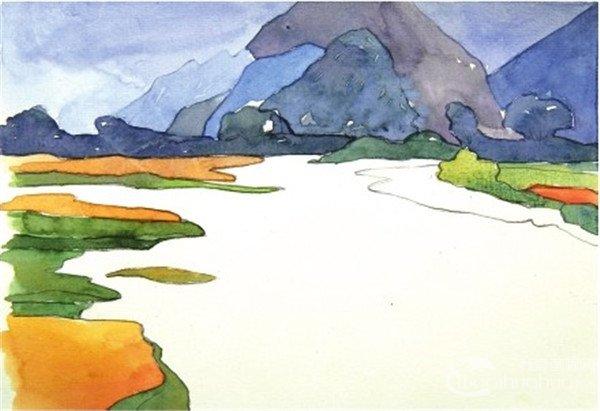 学画画 水彩画教程 水彩风景画 > 水彩静谧湖面的绘画教程(3)
