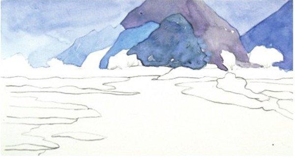 1、用铅笔轻轻勾勒出一个山下平静湖面的线稿图,注意画面中地平线的位置,不要设置在画面的中间。  水彩静谧湖面的绘画步骤一 2、先用群青色加上普蓝色调入大量的水分,将颜料稀释,先铺上淡淡的一层颜色,以表现远处天空和群山。  水彩静谧湖面的绘画步骤二 3、用青莲色加上普蓝色继续画山的颜色,最前面的一座山颜色最深。  水彩静谧湖面的绘画步骤三 4、用更深一点的蓝色画出山下一排树林的颜色,但是颜色也不要全部都相同,可以加一点浅绿色,使颜色有些变化。  水彩静谧湖面的绘画步骤四