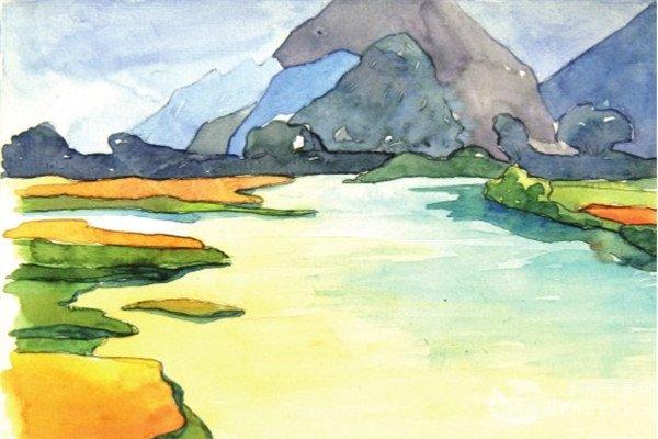 水彩静谧湖面的绘画教程