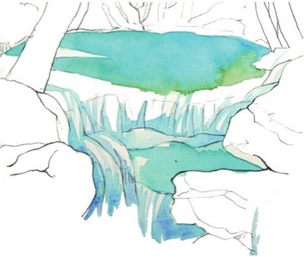 2、用纯的天蓝色加上水来画水塘中的水的颜色,然后在颜料中加入一点点绿色画出水塘的边缘。  水彩流动的水示例山溪的绘制步骤二 3、继续用天蓝色画从水塘中留出的水的颜色,这一步是表现流水质感的关键,不要将整个水面都涂上颜色,要留出高光的位置。  水彩流动的水示例山溪的绘制步骤三