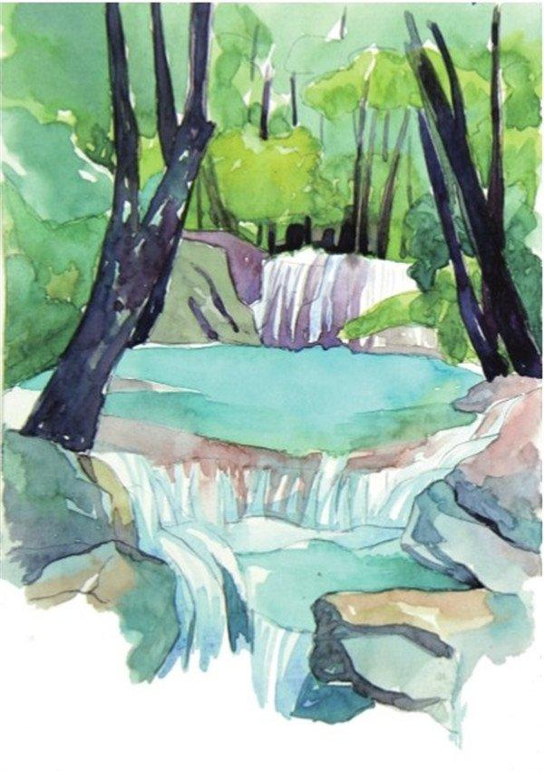 8、用普蓝色加上胭脂红色和一点黑色调和,画出右边树干的颜色,深色不要上得面积太大,以树干上有水的反光,所以在树干上可以晕染一点比深色稍浅一点的蓝绿色。  水彩流动的水示例山溪的绘制步骤八 9、最后继续用前面的深色画出左边树干的颜色,左边的树干要比右边的树干靠前一点,细节就要表现得多一点,座椅颜色也就相对地要重一点,很多颜色都是周围景物的环境色。  水彩流动的水示例山溪的绘制步骤九 因为树干上有水的反光,所以在树干上可以晕染一点比深色稍浅一点的蓝绿色。