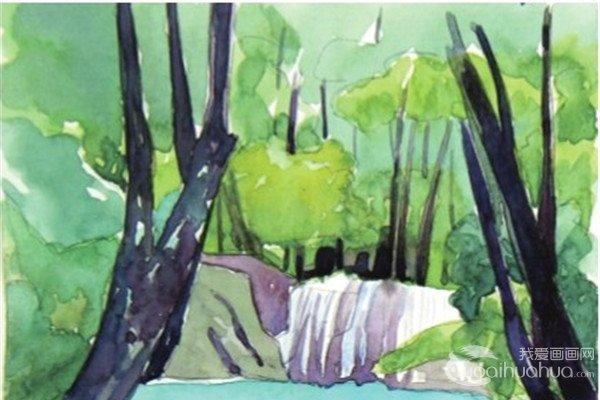 水彩流动的水示例山溪绘画教程
