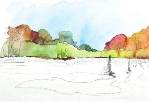 1、先在画面中确定水平线的位置,即湖岸的位置,然后再画出远处的树林和岸边的芦苇,为了丰富画面,可以在湖边适当画些树根。  水彩水平构图示例湖边的景色绘制步骤一 2、直接用天蓝色加入大量的水调和,平涂远方的天空,趁着颜料未完全干的时候开始画树林。  水彩水平构图示例湖边的景色绘制步骤二 在上一种颜料未干时再上另一种颜色就会有这种晕开的效果。  水彩水平构图示例湖边的景色绘制步骤二-1 3、继续画树林,画面避免颜色太过单调,平时多观察树林中 丰 富 的 颜色,这里用橙色加胭脂红色和一点浅绿色调出一些橙灰色来画