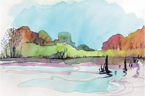 水彩水平构图示例湖边的景色绘画技法