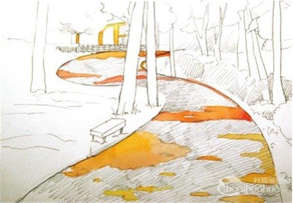 1、先在画面中确定S形路的走形,再在画面中添加树木,草丛,最后要大致勾勒树的投影的位置。  水彩S形构图示例林间小径绘制步骤一 2、用中黄色调入些生赭色加大量的水,画出画面颜色最浅的部分。  水彩S形构图示例林间小径绘制步骤二 用夸张的颜色画林荫小道上树荫的投影。  水彩S形构图示例林间小径绘制步骤二-1 3、接着用普蓝色和青莲色混合,并加入一些上面步骤中画光斑的颜色,调出蓝灰色来画树荫,这样的道路是不是有点像深邃的银河呢?  水彩S形构图示例林间小径绘制步骤三