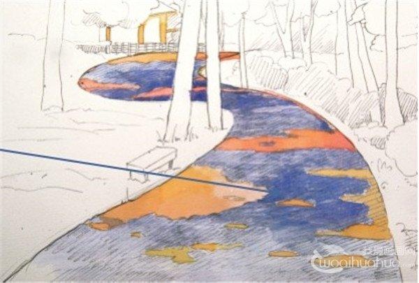 学画画 水彩画教程 水彩风景画 > 水彩s形构图示例林间小径的绘画技法