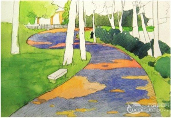 5、在上一步的基础颜色上加入更多的翠绿色画近处的草丛,草丛上的光斑直接留白,用纸张本身的颜色来表现。  水彩S形构图示例林间小径绘制步骤五 6、接下来绘制茂密的树叶,因为整幅图的重点是小径,所以对树叶的处理就要稍微简单一点,将所有树叶看做一个球体,画出受光和背光的两个面就够了。  水彩S形构图示例林间小径绘制步骤六