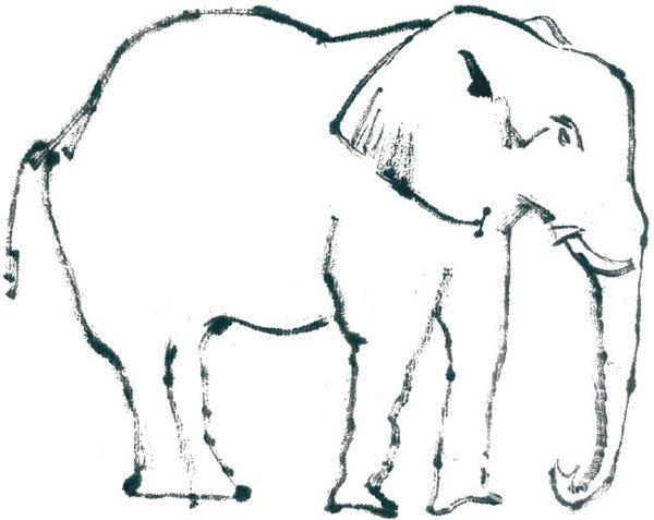 国画大象的绘画步骤_国画教程_学画画_我爱画画网