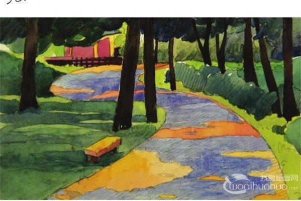 水彩S形构图示例林间小径的绘画技法