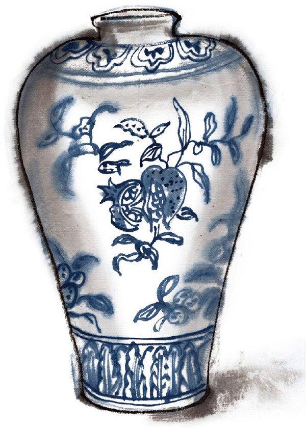 水墨青花瓷瓶花纹