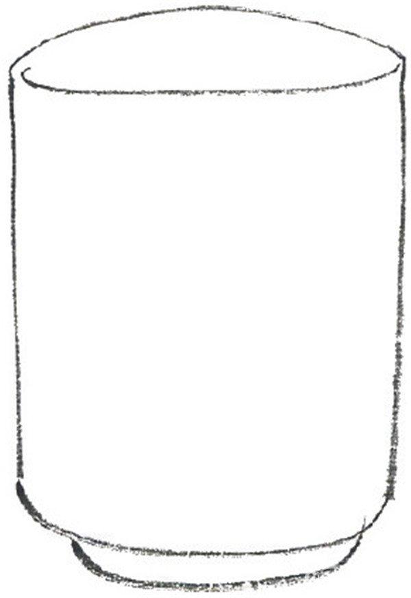 水墨青花瓷三:青花瓷杯绘画步骤二 3,用花青勾花纹.
