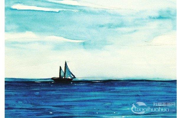 水彩天空与海面对比色的绘画技法