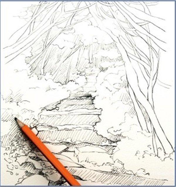 近大远小的风景画-水彩小径的绘画步骤