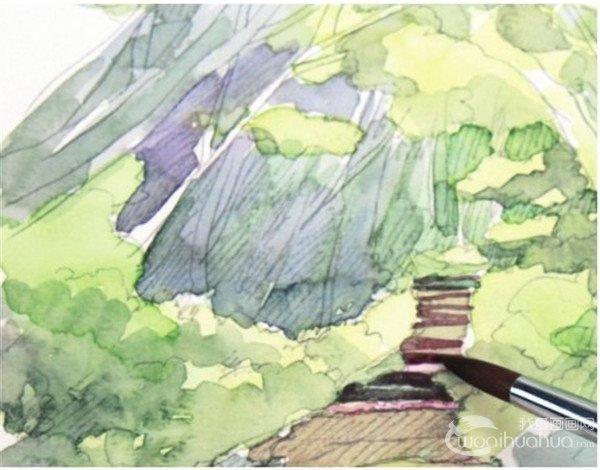 水彩小径的绘画步骤(5)_水彩画教程_学画画_我爱画画网