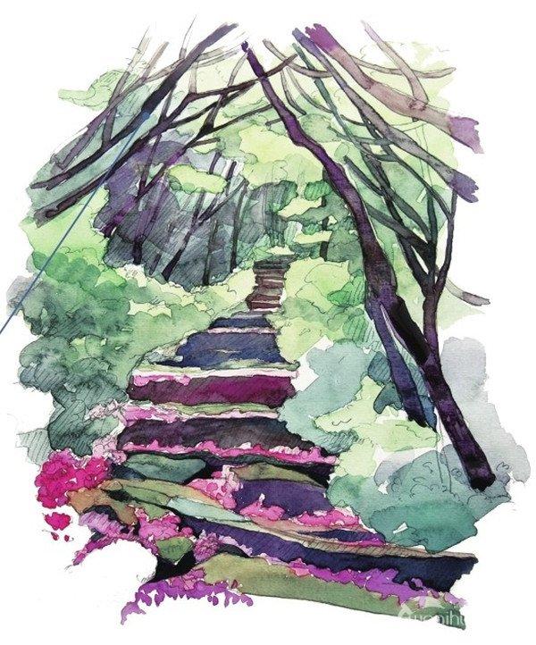 水彩画教程步骤图片-水彩小径的绘画步骤 6