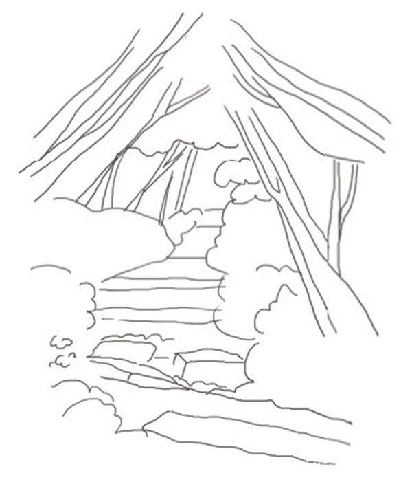 小径简笔画-水彩小径的绘画步骤