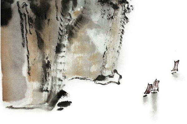 水墨三峡的绘画步骤