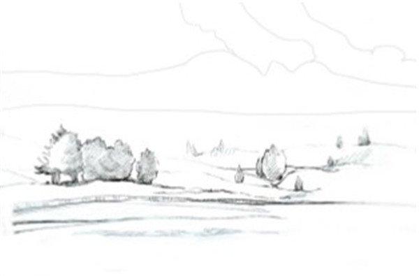 水彩草原清晨的绘画步骤图片