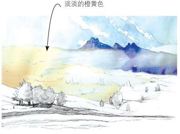 学画画 水彩画教程 水彩风景画 > 水彩草原清晨的绘画步骤(2)      6