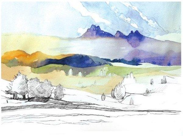 学画画 水彩画教程 水彩风景画 > 水彩草原清晨的绘画步骤(2)      8