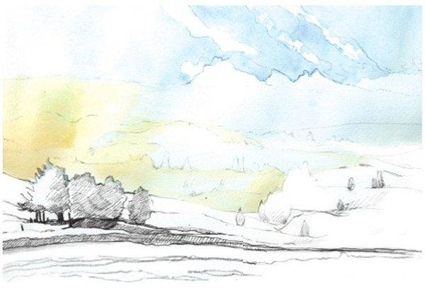 学画画 水彩画教程 水彩风景画 > 水彩草原清晨的绘画步骤      5,用