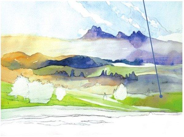 学画画 水彩画教程 水彩风景画 > 水彩草原清晨的绘画步骤(3)      10