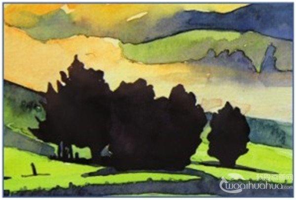 的时候不管是要表现白色还是黑色,颜色都要有倾向,比如这个案例就是偏紫红色,因为是逆光的效果,所以树的边缘和树梢有些泛光的、紫红色的效果。  水彩草原清晨绘制步骤十五 16、用浓一点的翠绿色和柠檬黄色调和,画草原上剩下的一处颜色,注意颜色不要过浓,否则会使这一处颜色脱节,画后如果颜色效果有些突兀的话,用干净的笔晕染一下即可。  水彩草原清晨绘制步骤十六 可以适当加些橙色在其中,表现背光照射的效果。  水彩草原清晨绘制步骤十六-1 17、用浅绿色加上柠檬黄色加入充分的水分调和,用来画最前面一片的草原,颜色比前