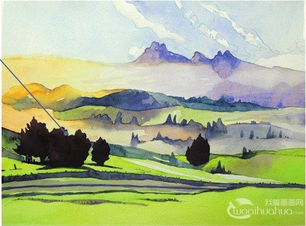 学画画 水彩画教程 水彩风景画 > 水彩草原清晨的绘画步骤(4)      15