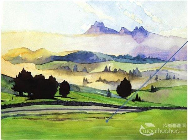 水彩草原清晨的绘画步骤(4)