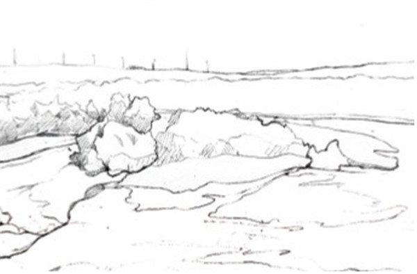 1、先用铅笔勾出整体景物分布的大致走向,然后再分区域画出景物的大概外形。  水彩喀纳斯湖的绘画步骤一 2、将零碎的树林看成是一个整体,画湖中的一片林地时,同样将其看成是一个整体,确定出整体的受光面和背光面。  水彩喀纳斯湖的绘画步骤二 3、继续用铅笔刻画细节,尤其是最前面的几个大石头,像画