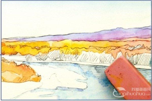 水彩喀纳斯湖的绘画步骤八-1