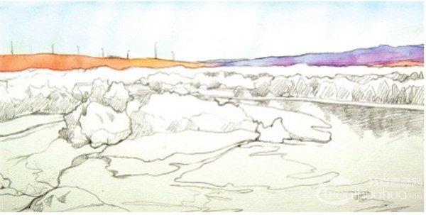 学画画 水彩画教程 水彩风景画 > 水彩喀纳斯湖的绘画技法(2)