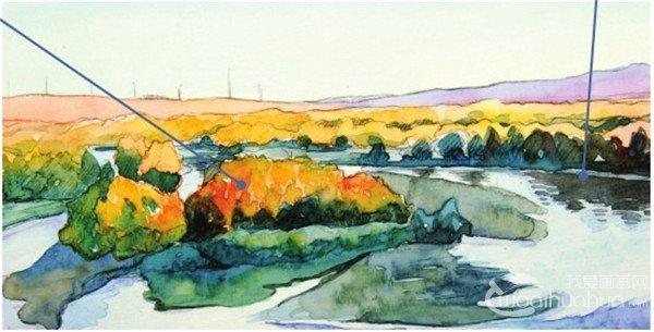 水彩喀纳斯湖的绘画技法(6)
