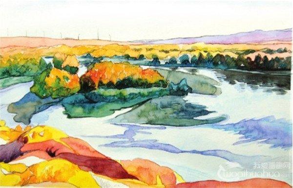 水彩喀纳斯湖的绘画技法(7)