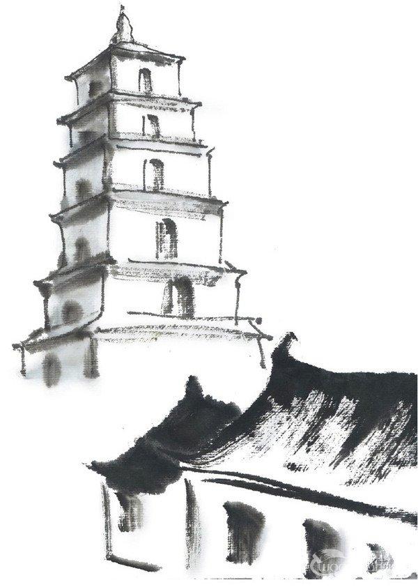水墨大雁塔的绘画技法 3