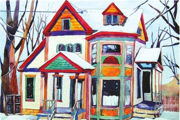 水彩冰雪彩色小屋的绘画教程