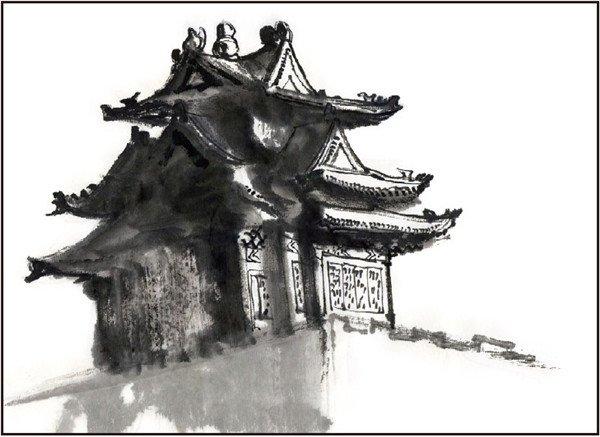 水墨故宫角楼的绘画教程(2)