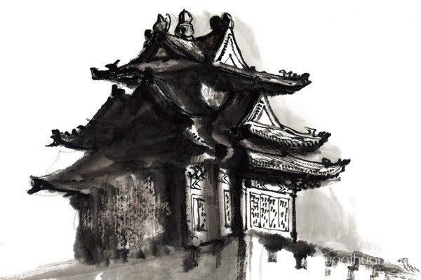 水墨故宫角楼的绘画教程
