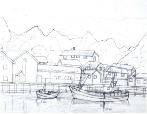 学画画 水彩画教程 水彩风景画 > 水彩雪山小镇的绘画技法(2)