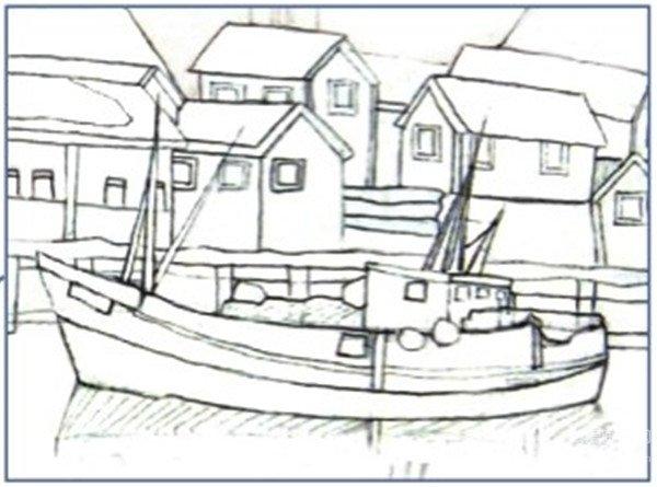 4、刻画完房子就开始画停靠在湖岸边的游艇,连带岸边的围栏也一起勾画出来。  水彩技法:雪山小镇的绘制步骤四 用铅笔细细画出船的护栏、船上的装饰等,方便在下一步更好地上色。  水彩技法:雪山小镇的绘制步骤四-1 5、剩下最前面的一艘游艇,这一艘就要仔细地刻画了,连上面的旗子以及游艇上的护栏都要刻画出来。  水彩技法:雪山小镇的绘制步骤五 仔细画出远处船的细节。  水彩技法:雪山小镇的绘制步骤五-1