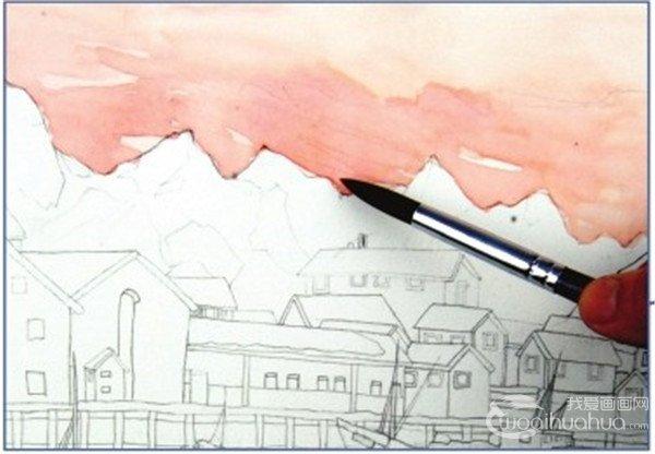 水彩雪山小镇的绘画技法(3)