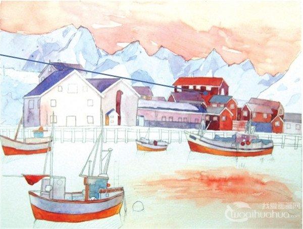 学画画 水彩画教程 水彩风景画 > 水彩雪山小镇的绘画技法(7)      13